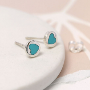 Sterling silver round stud earrings with turquoise heart inset