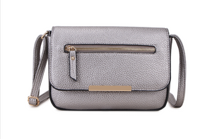 Silver Crossbody bag with Zip and Gold Detail