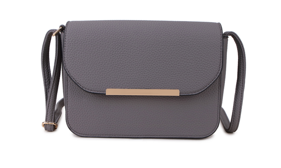 Grey Crossbody Bag with Gold Detail