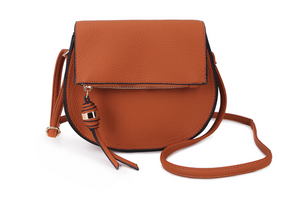 Tan Cross Body Bag with Front Zip Detail
