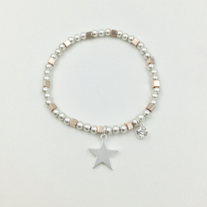 Star Bracelet with Rose Gold Square Bead Detail