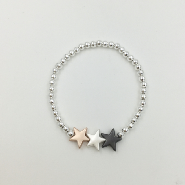 Silver Plated Elasticated Bracelet with 3 Stars