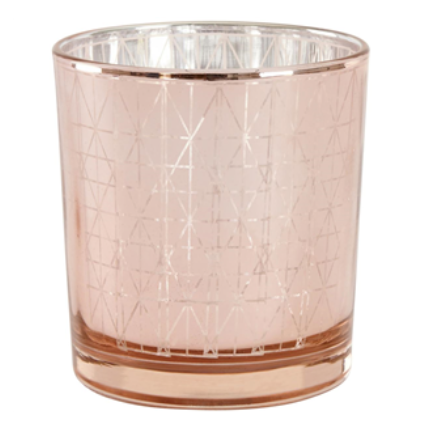 Geometric Print Rose Gold Candle Holder