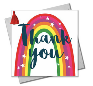 THANK YOU CARD, RAINBOW, EMBELLISHED WITH A COLOURFUL TASSEL