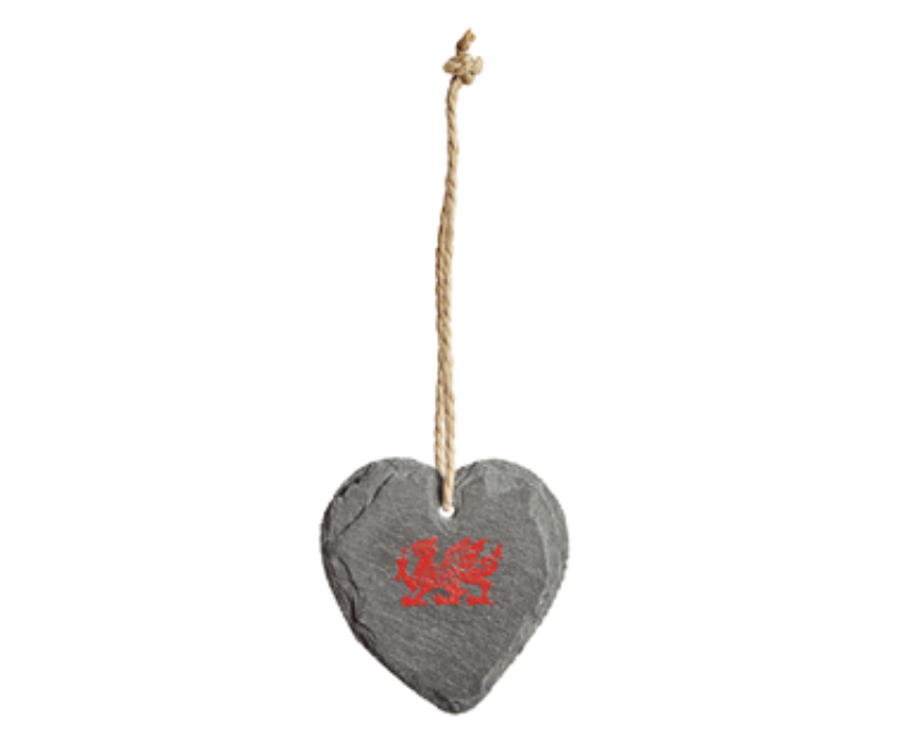 Welsh Dragon Slate Heart