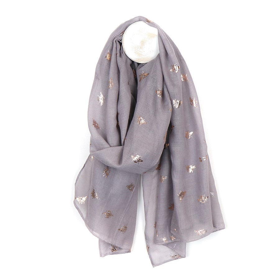 Grey scarf with metallic rose gold bee print
