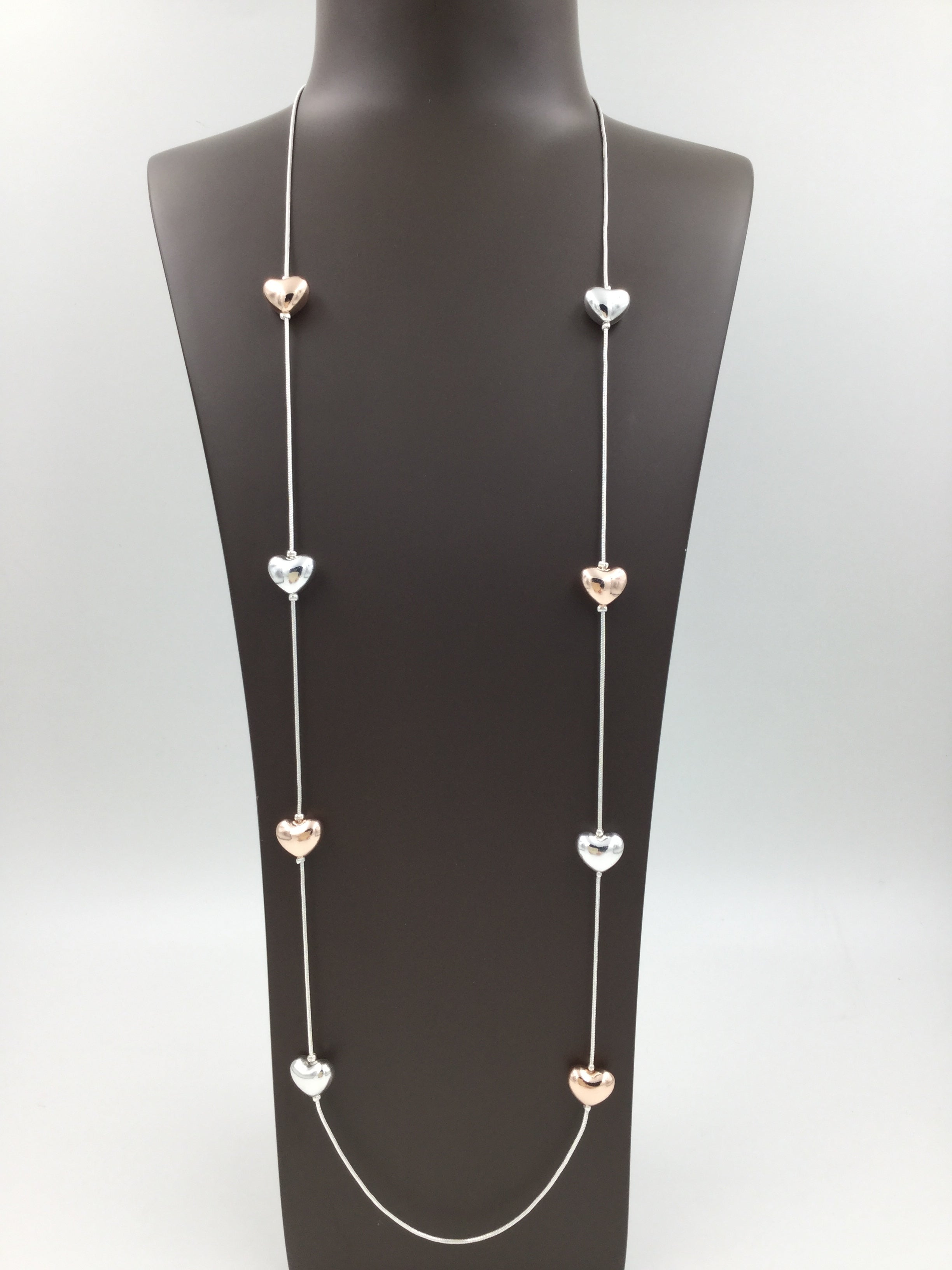 Long Silver and Rose Gold Heart Necklace