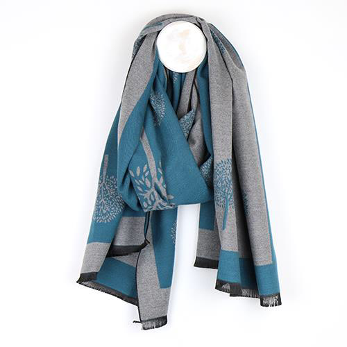 Teal Tree Of Life Jacquard Scarf