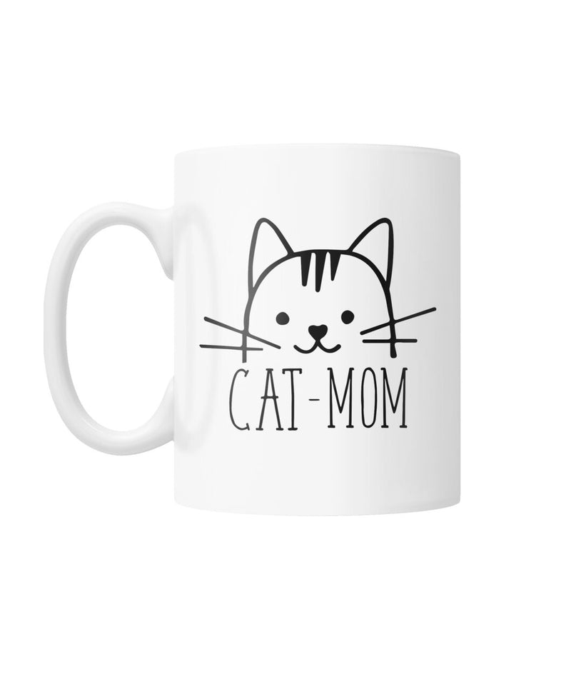 Cat Mom Cute White Coffee Mug Funny Fun