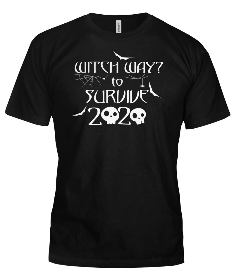 Witch Way to Survive 2020 Halloween Skull Funny Tshirt