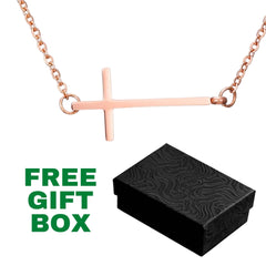 Beautiful Stainless Steel Cross Necklace Gift - Rose Gold Colored - Sideways Cross