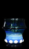Shimmery Blue Scotch Glass with White Accents by Phil Sundling