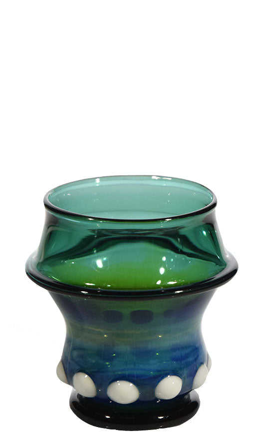Blue Teal Scotch Glass with White Accents by Phil Sundling