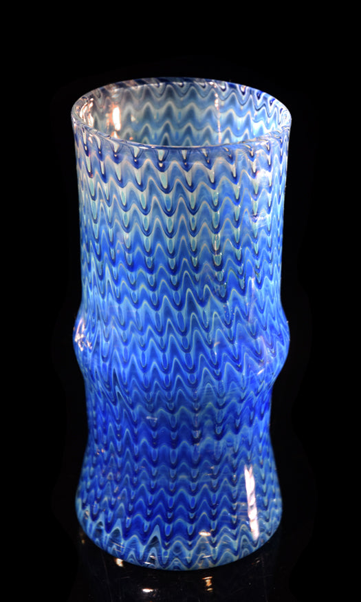 Tall Cobalt Wrap & Rake Glass by Jason
