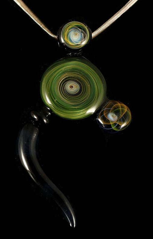 Fumed Disc Pendant with Horn