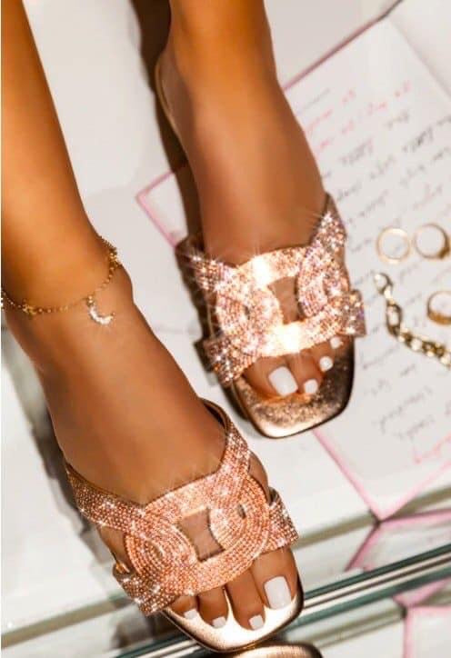 $10 CLEARANCE Rose Gold Rhinestone Sandals