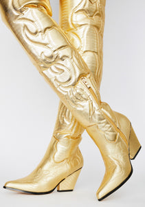 $35 GOLD THIGH HIGH COWBOY BOOTS