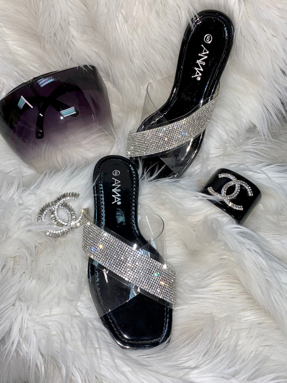 $25 Black & Clear Strap Sandals