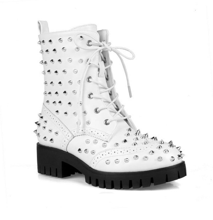 $55 WHITE SPIKED MOTO BOOTS