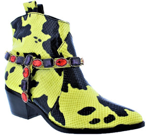 $45 Yellow Cow Print Cowboy Booties