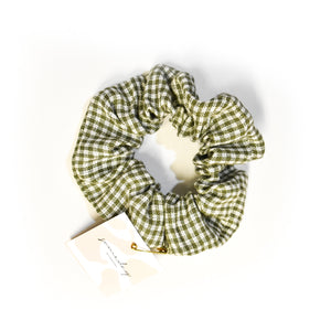 Hair Scrunchie - Green Gingham
