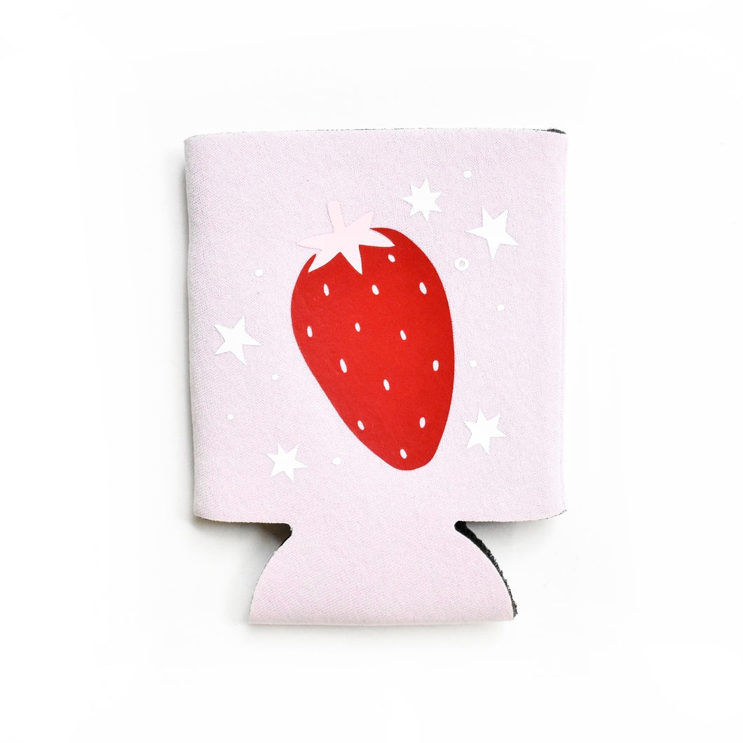 dusty lilac strawberry drink koozie !
