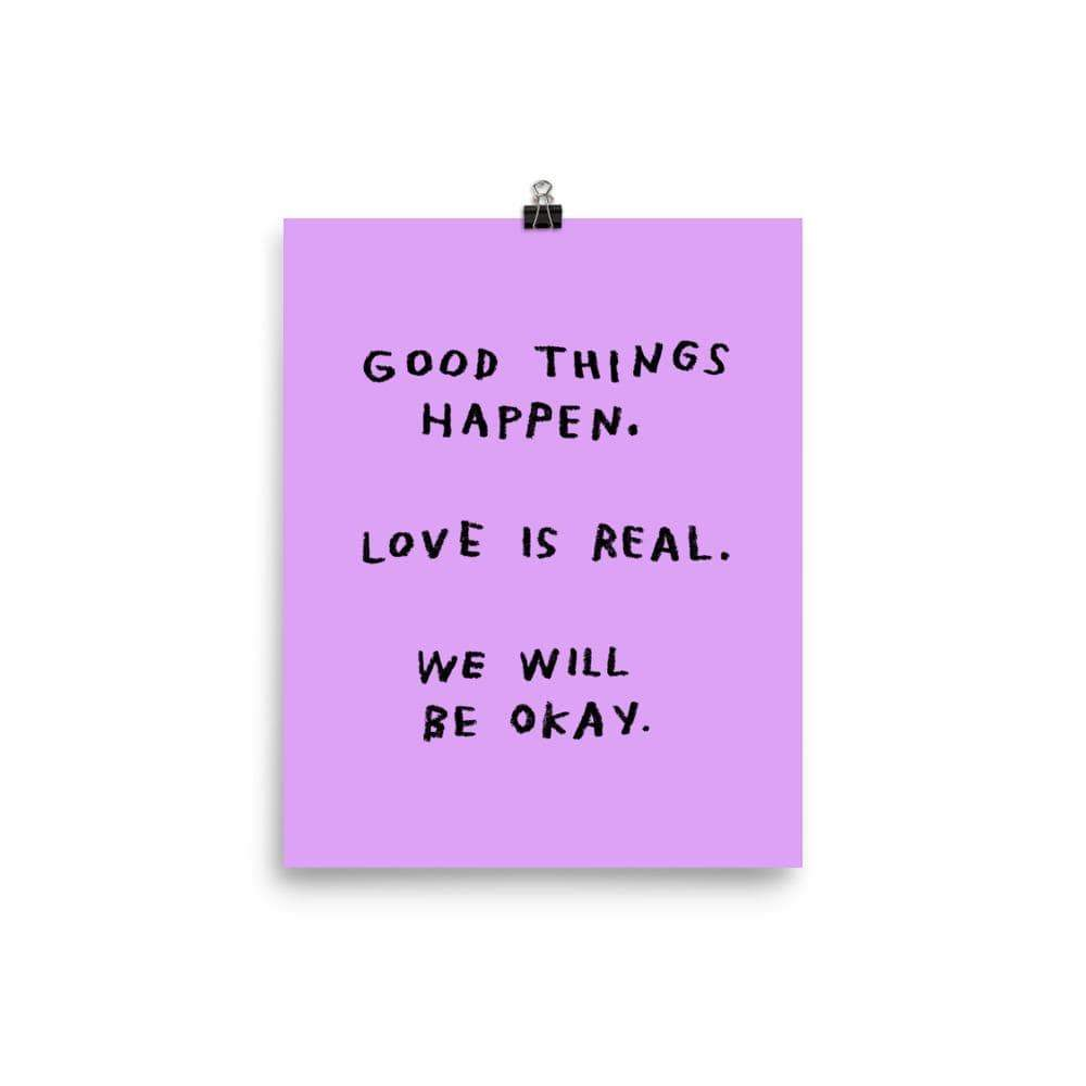 Good Things Happen Art Print | Purple
