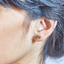 Load image into Gallery viewer, Gold Evil Eye Stud Earrings