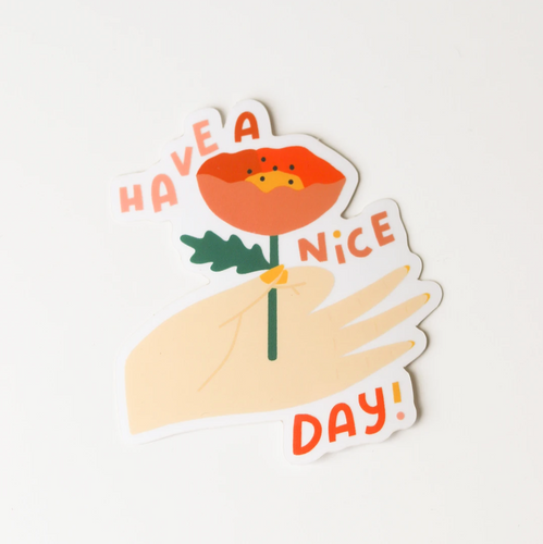 Have A Nice Day Hand With Flower Sticker