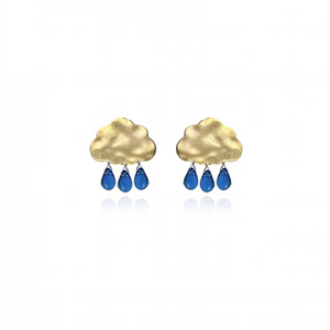 Rain Cloud Earrings | Gold with Cobalt Drops