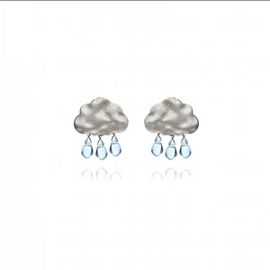 Rain Cloud Earrings | Silver with Light Blue Drops