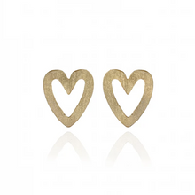 Load image into Gallery viewer, Gold Heart Studs