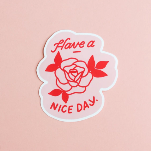 Have a Nice Day Red Rose Sticker