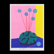 Load image into Gallery viewer, Small Vase Full of Blue Billy Button Flowers Riso Print