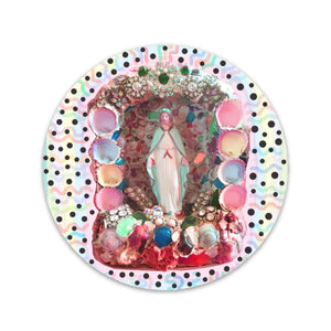 Virgin Mary Grotto Circle Sticker