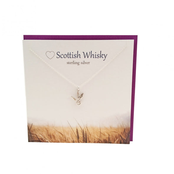 Scottish Whisky barley corn silver pendant | The Silver Studio Scotland