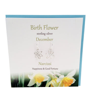 Birth Flower December silver earrings | Narcissi | The Silver Studio