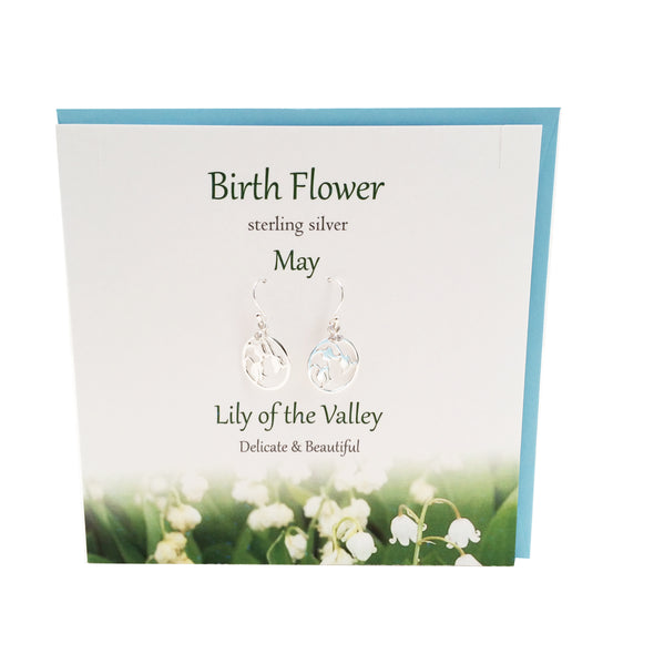 Birth Flower May silver earrings |Lily of the valley | The Silver Studio