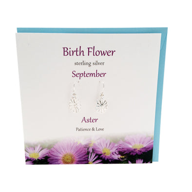 Birth Flower September silver earrings |Aster | The Silver Studio