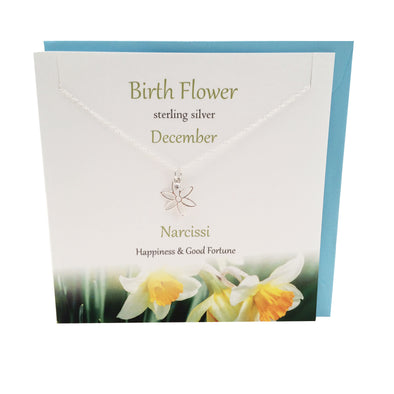December Birth flower Narcissi silver necklace | The Silver Studio Scotland