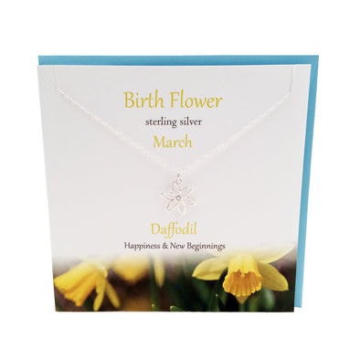 March Birth flower Daffodil silver necklace | The Silver Studio Scotland