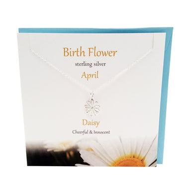 April  Birth flower Daisy silver necklace | The Silver Studio Scotland