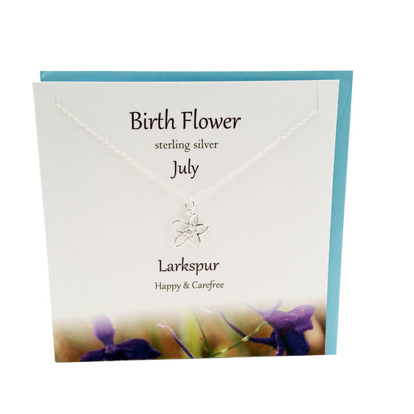 July Birth flower Larkspur silver necklace | The Silver Studio Scotland