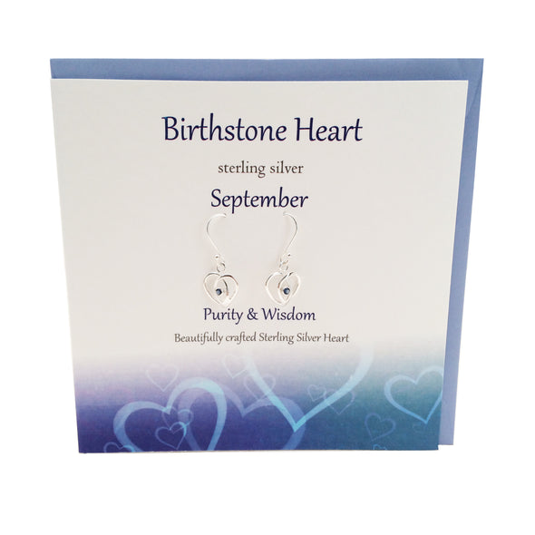 September Birthstone silver earrings |Sapphire crystal | The Silver Studio