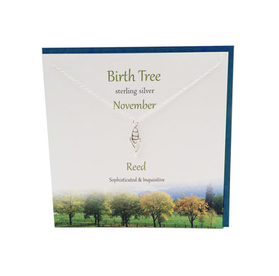 November Birth Tree Reed silver necklace | The Silver Studio Scotland