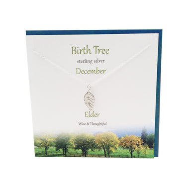 December Birth Tree Elder silver necklace | The Silver Studio Scotland