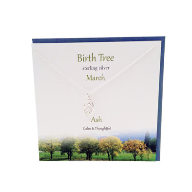 March Birth Tree Ash silver necklace | The Silver Studio Scotland