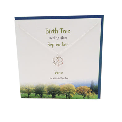 September Birth Tree Vine silver necklace | The Silver Studio Scotland
