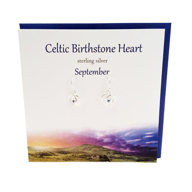 Celtic Birthstone silver earrings | September Sapphire crystal