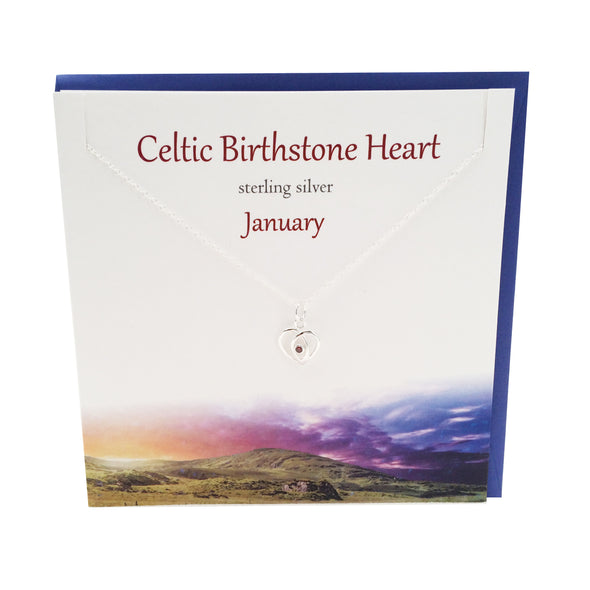 January Celtic Birthstone Garnet crystal silver necklace | The Silver Studio Scotland